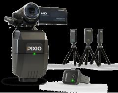 Ce pack comprend un robot caméraman PIXIO complet (le robot, la montre et les 3 balises), plus une caméra SONY CX240