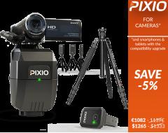 El PACK incluye un robot PIXIO completo (con el reloj y las 3 balizas), un trípode y una cámara SONY HDR-CX450