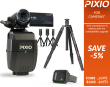 The PACK includes a complet PIXIO robot (with the watch and the 3 beacons), a tripod and a SONY HDR-CX450 camera