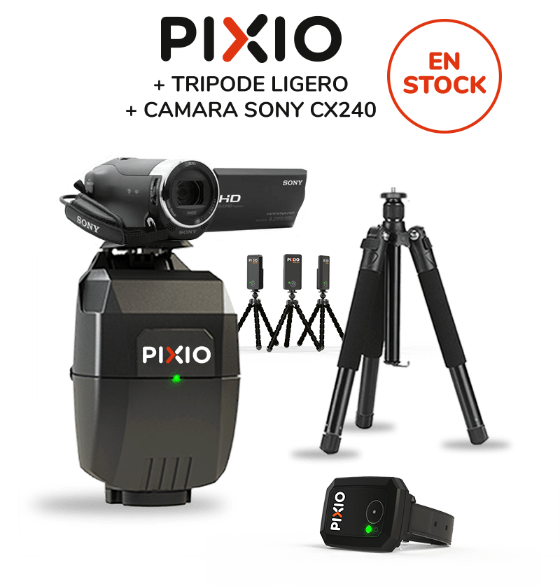 The PACK includes a complet PIXIO robot (with the watch and the 3 beacons), a tripod and a SONY HDR-CX240 camera